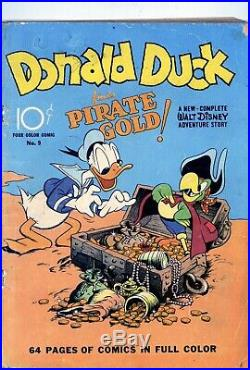 1942 Donald Duck finds Pirate Gold No. 9 Four Color Comic Book Fair Condition
