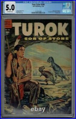 Cgc 5.0 Four Color #596 Turok Son Of Stone The Dinosaur Hunter 1st App O/w Pgs