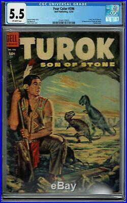 Cgc 5.5 Four Color #596 O/w Pgs 1st App Turok Son Of Stone The Dinosaur Hunter