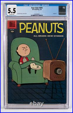 Dell Comics Four Color #878 Peanuts 1958 / CGC 5.5 / Charlie Brown / Schultz