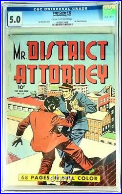 FOUR COLOR #13 Mr. District Attorney, 1942, CGC GRADED @ 5.0