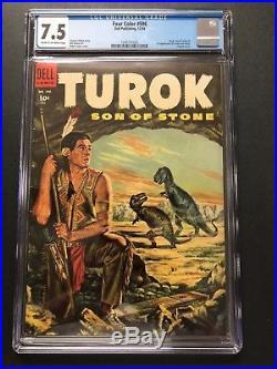 FOUR COLOR #596 (1954) 1st TUROK & ANDAR CGC VF- 7.5 CRM/OW NICE BOOK