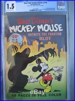 Four Color 16 CGC Grade 15 Unrestored 1st Mickey Mouse Dell 1941