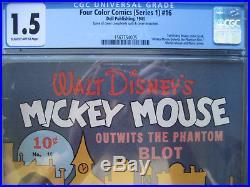 Four Color #16 CGC Grade 1.5 Unrestored 1st Mickey Mouse Dell 1941