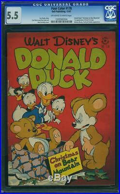 Four Color #178 CGC 5.5 Dell 1947 1st Uncle Scrooge! Donald Duck K7 104 cm clean