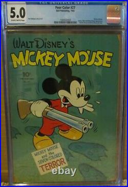 Four Color #27 Cgc 5.0, Mickey Mouse, Goofy, Pluto & Minnie Pin-ups 1943