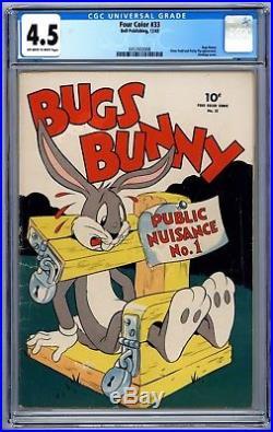Four Color #33 CGC 4.5 Bugs Bunny Elmer Fudd Porky Pig Bondage 1943 Dell