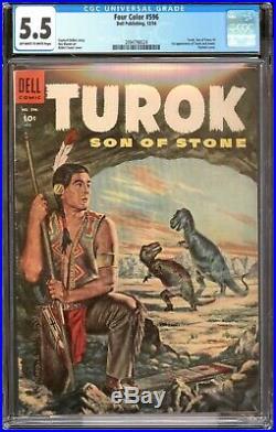 Four Color 596 1st Turok / CGC 5.5 F- / Key