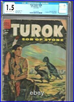 Four Color #596 Cgc 1.5 Dell 1954 1st Turok Son Of Stone #1