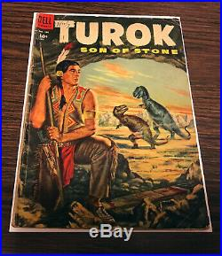 Four Color #596 Turok Son of Stone Dell 1954 1st Turok the hunter and Andar. Key