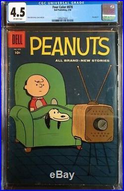 Four Color #878 CGC 4.5 Peanuts #1 Dell Publishing Dale Hale 1948 Snoopy Comic
