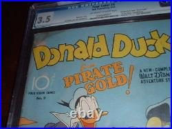 Four Color #9 /aug. 1942 / 1st Carl Barks Donald Duck /cgc Graded 3.5 / Historic