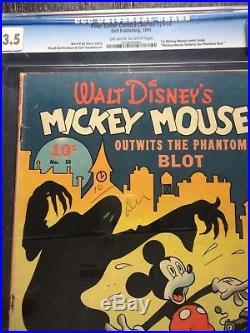 Four Color Comics #16 Phantom Blot Dell 1941 1st Mickey Mouse Comic Book CGC 3.5