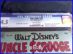 HTF WALT DISNEY FOUR COLOR 386 1st UNCLE SCROOGE 1952 CGC 4.5 VG+ GOLDEN AGE
