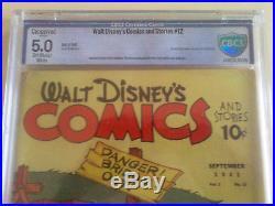 WALT DISNEY COMICS AND STORIES FOUR COLOR #12 CBCS 5.0 c 1941 VG/F PRE BARKS CGC